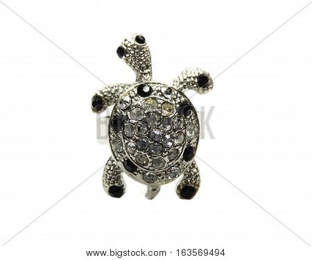 turtle ring with bright crystals jewelry fashion style