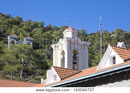 Greece Cyprus the Kykkos monastery bell tower seen from the courtyard poster