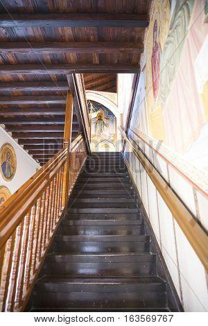 Kykkos Greece - November 24 2016: Cyprus island the staircase to the balcony over the courtyard of the Kykkos monastery