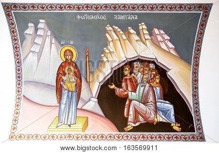 Kykkos Greece - November 24 2016: Cyprus island detail of the sacred paintings of the Kykkos monastery
