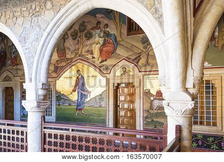 Kykkos Greece - November 24 2016: Cyprus island the sacred paintings in the balcony over the courtyard of the Kykkos monastery