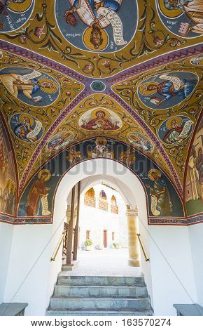 Kykkos Greece - November 24 2016: Cyprus island the sacred paintings of the Kykkos monastery entry