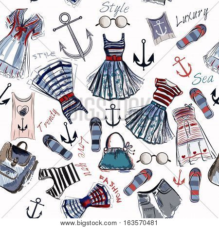 Fashion pattern with clothes and anchors in retro nautical style