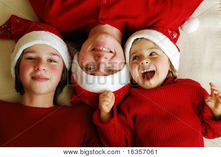 Happy family celebrate Christmas