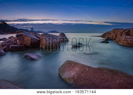 long exposure photography of sea scape in morning light