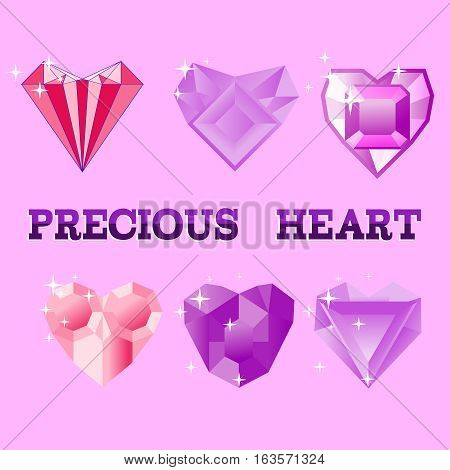 Beautiful precious decorative crystal heart colorful icons set. Precious Heart vector illustration.