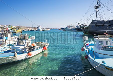 Aya Napa Greece - November 26 2016: Cyprus island fishermen boats in the harbor