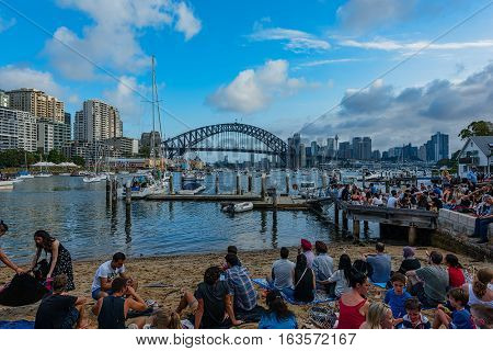 Sydney Harbour Bridge Sydney Australia at sunsetJAN 01,2017 The Sydney Harbour Bridge is a steel through arch bridge across Sydney Harbour to the North Shore.