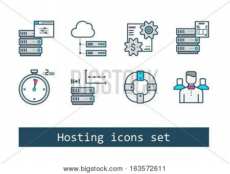 Set of Hosting Outline Flat Vector Icons