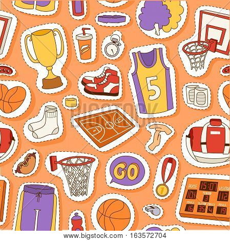 Basketball sport seamless pattern vector illustration. Soccer competition modern fitness activity backdrop. Winner orange leather play game equipment background.