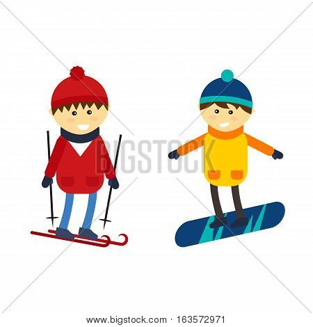 Christmas boy snowboarding playing winter game happy leisure vector illustration. Cartoon new year holidays funny lifestyle. Skiing down person extreme outdoor recreation.