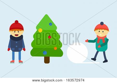 Funny little kids having fun in beautiful winter park during snowfall. Children playing winter games. Making snowman near green pine tree. Happiness holiday vacation time.