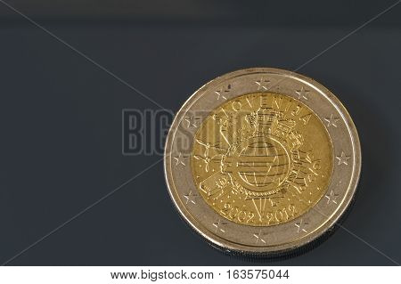 Commemorative 2 Eur Coin 10 Years Of Euro Currency