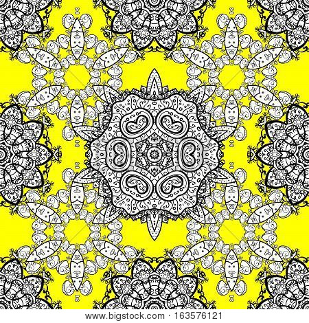 Seamless white mandala pattern on yellow background. Raster illustration. Snowflake Christmas New Year.