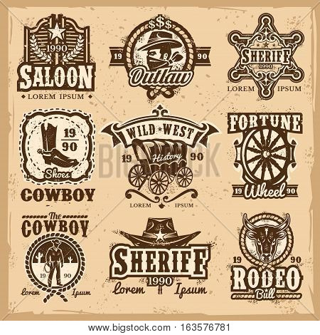 Set of vector wild west logos, badges with cowboy and attributes of the wild west isolated on white