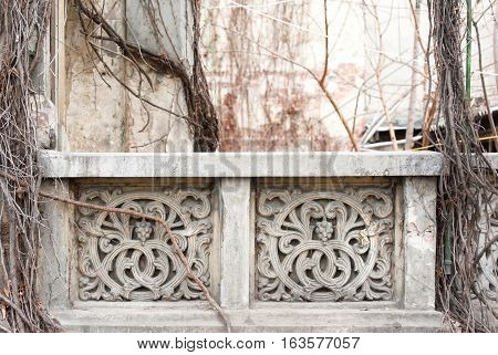 Old architectural detail of the balcony of a house