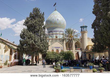 SHIRAZ, IRAN - OCTOBER 7, 2016: Shrine and mosque Ali ebn-e Hamzeh on October 7, 2016 in Shiraz, Iran, Asia
