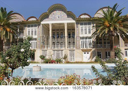 SHIRAZ, IRAN - OCTOBER 7, 2016: Beautiful palace within the Eram Garden on October 7, 2016 in Shiraz, Iran, Asia