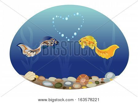 Sea landscape with two cute fish in love. Romantic feeling concept. Greeting card with Valentine's day, suitable for recognition in infatuation,  love, for a sensual design. Vector. Horizontal.