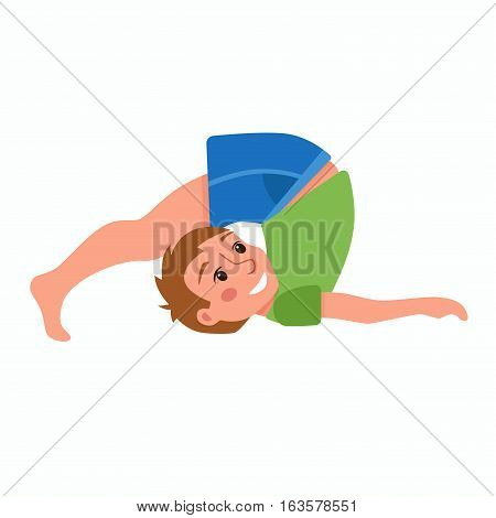 Yoga kids poses. Cute cartoon gymnastics for children and healthy lifestyle sport illustration. Vector happy kids fitness exercise and yoga asana colorful design