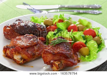 Tasty Grilled Chicken Thighs With Green Fresh Salad