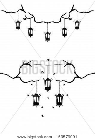 set of vector borders with retro street lamps tree branch and butterflies in black and white colors
