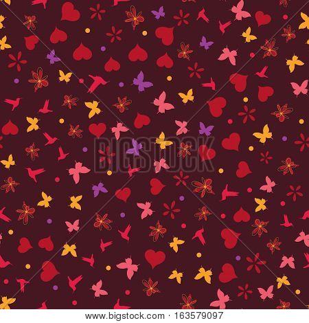 seamless vector valentine background with hearts birds and butterflied