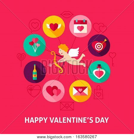 Concept Happy Valentines Day. Vector Illustration of Love Holiday Infographics Circle with Flat Design Icons.