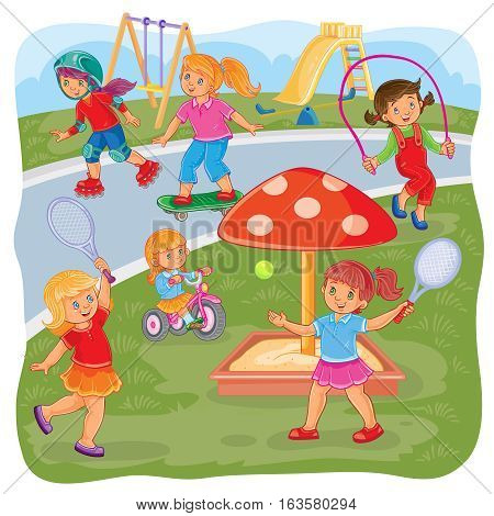 Vector illustration of a girls playing on the playground in tennis, jumping rope, skateboarding, roller skating and cycling