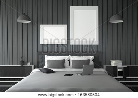3D rendering : illustration of modern wooden house interior. bedroom part of house. Spacious bedroom in wood style. black and white furniture big bed and decorative mock up white frame tablet and laptop