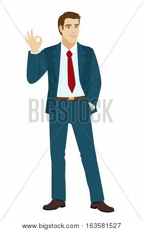 OK! Smiling businessman show a okay hand sign. Businessman holding one hand in his pocket. Vector illustration.
