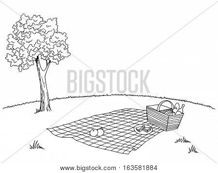 Picnic graphic black white sketch illustration vector