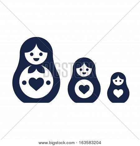 Set of Russian nesting dolls Matryoshka. Simple modern style vector icons.