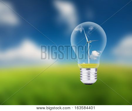 Wind power station in electric lamp. Ecological energy concept