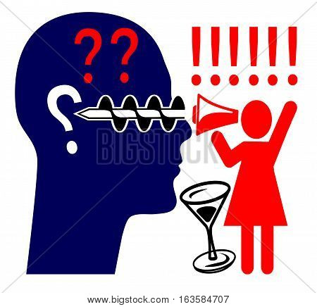 Woman Yelling at Man. Wife quarreling over drinking habits and the husband does not care