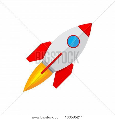 Colored rocket ship icon in flat design. Simple spaceship icon isolated on white background. Vector illustration.