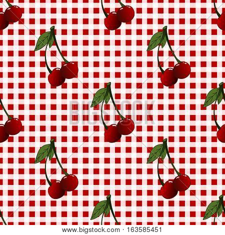 A seamless pattern with cherries and heaves placed randomly