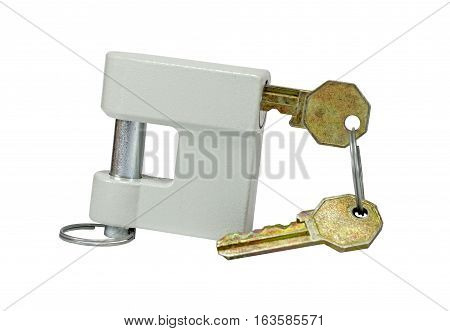 New close metal padlock with keys isolated on white background