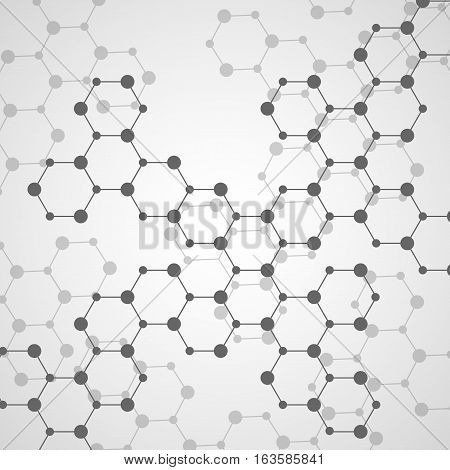 Hexagonal molecule structure of DNA. Geometric abstract background