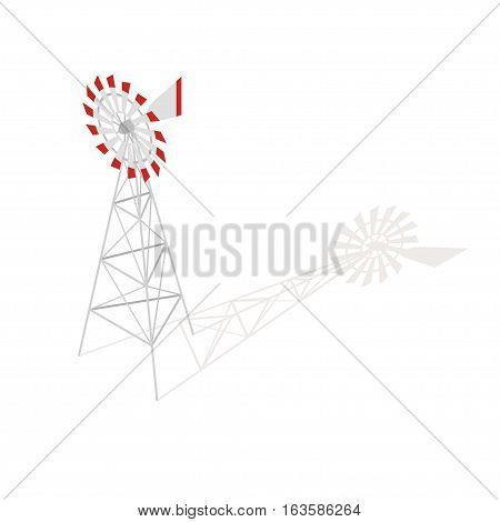 Isometric 3d vector illustration of farm windmill. Isolated on white background.