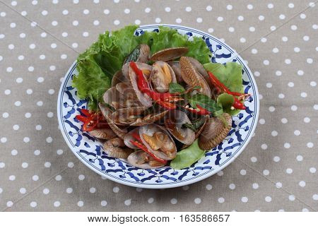 Stir Fried Clams With Roasted Chile Paste.
