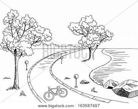 Park bike path graphic black white landscape sketch illustration vector