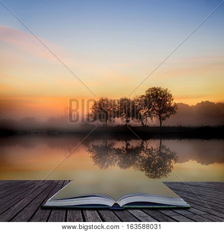 Stunning Vibrant Autumn Foggy Sunrise English Countryside Landscape Image Coming Out Of Pages Of Boo
