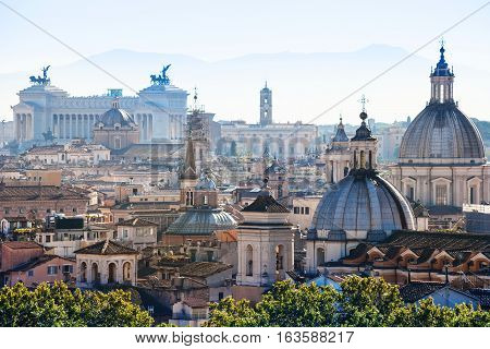 Above View Of Rome City In Side Of Capitoline Hill