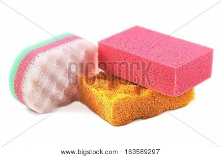 Sponge Tri color Bath Sponge isolated on white background