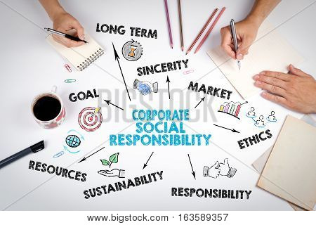 Corporate Social Responsibility Concept. The meeting at the white office table.