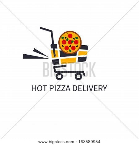 Icon deliver hot pizza. Logo of pizzeria. Fast food in hand cart. Vector illustration.