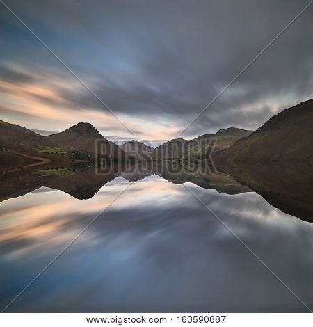Beautiful Sunset Landscape Image Of Wast Water And Mountains In Lkae District In Autumn In England
