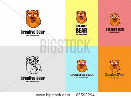 Creative bear character ideal logo for freelancer or design agency. Vector funny bear sucking pencil.