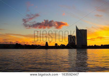 Panorama Of Riga With Daugava River At The Sunrise